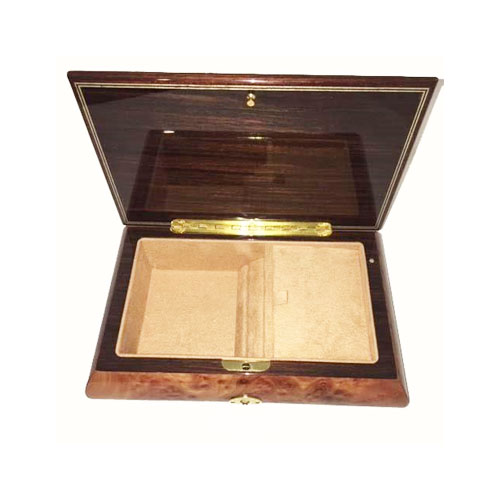Elm Musical Box With Graceful Scroll Work