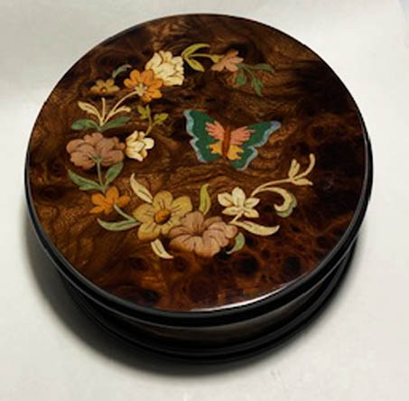 Round Walnut music box with Floral and butterfly inlay