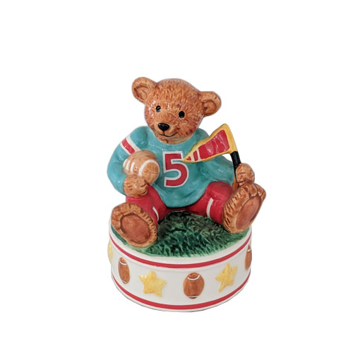 Musical Porcelain Football Bear on Base