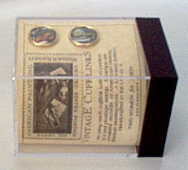 New in Box - Vintage postage stamp cufflinks with musical theme.