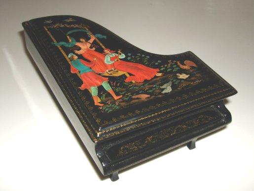 Russian Enamel Piano Box  -  Artist signed