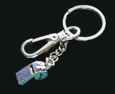 silver plated working whistle on keychain