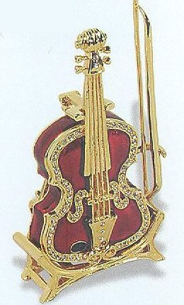 Jeweled Violin Box with Stand