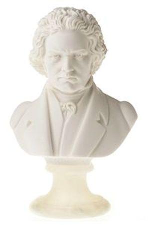 """Hand carved, 12"""" alabaster bust of Beethoven."""