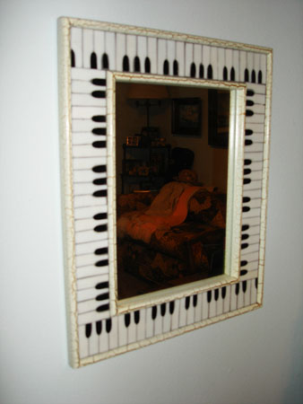 keyboard mozaic framed mirror