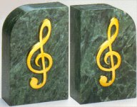 Bookends brass and marble bass clef or g clef - Treble clef bookends ...