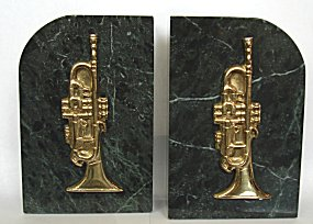 Bookends Brass and Marble Trumpet