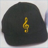 Black Baseball Cap with Gold embroidered Treble Clef