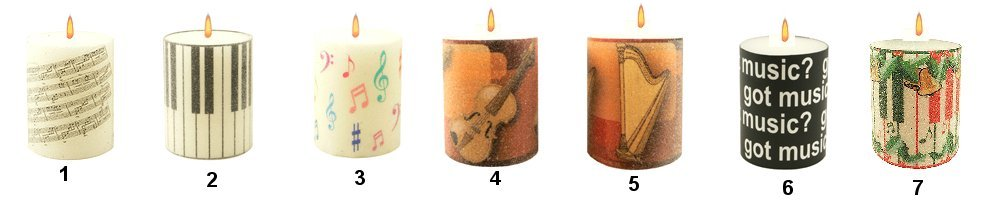 Pillar Votive Candles Your Choice of Music, Keyboard or Instruments
