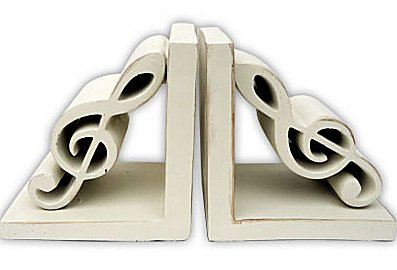 Bookends Antique White G Clef