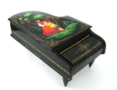 Russian Enamel Piano Box Small - Artist signed