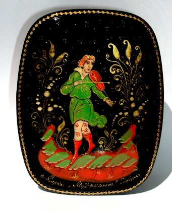 Russian Enamel Box with Violinist