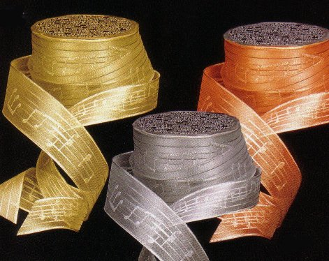 Gift Wrap Metalic Ribbon Musical Motif Gold silver or Copper (per yard)