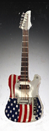 Magnet Guitar American Flag  4 inch
