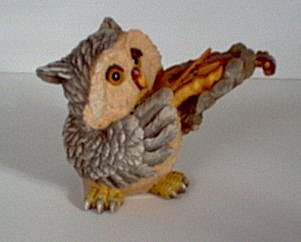 Musician Figurines Wise Owls Playing Straight Brass Horn