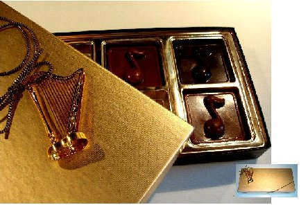 Chocolate Candy Notes in Gift Box with Gold plated instrument