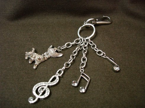 FOB Chain with CZ Cat and Music Notes