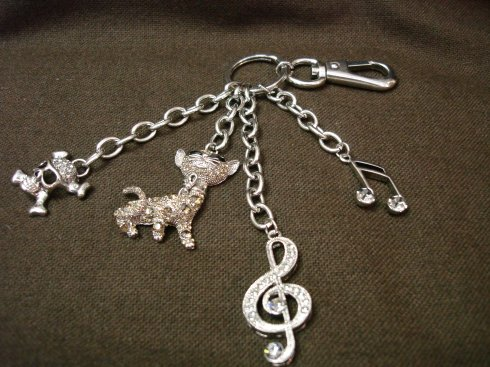 FOB Chain with CZ Cat, Skull and Music Notes