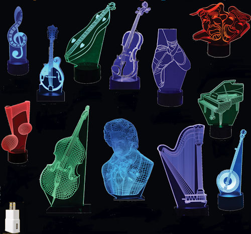 Selection of acrylic 3D musical themed lamps