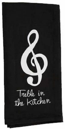 Matching Black Towel says Treble In The Kitchen