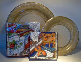 Party Paper Plates (8) and 20 Napkins - luncheon size