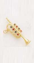Charms 14K Jeweled Trumpet