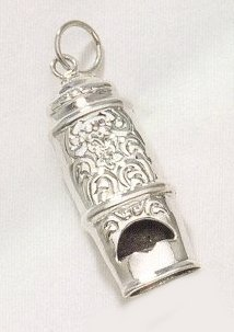 Ornate Sterling Silver Cabby Whistle Pendant