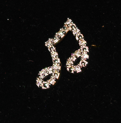 14K Pendant with Diamond Eighth Notes