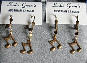 Double 8th Note Earrings (gold color) by Sadie Green