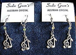 Treble Clef Earrings (silver) by Sadie Green