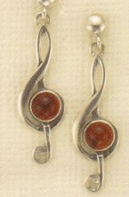 Amber and Sterling Earrings Treble Clef