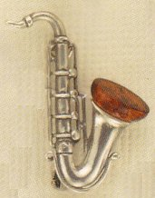 Amber and Sterling Pendant Saxophone