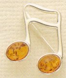 Amber and Sterling Pin 16th Notes