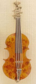 Amber and Sterling Pin Cello or Violin