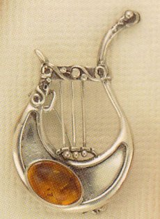 Amber and Sterling Pin Lyre