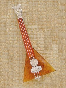 Amber and Sterling Pin Balalaika