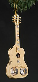 24K Gold Plated Ornament Guitar with Austrian Crystals