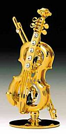 24K Gold Plated Table Top Violin with Austrian Crystals