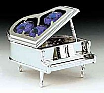 Silver Grand Piano with Austrian Crystals