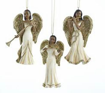 christmas tree ornaments gold 3 afro american angel musicians - Angel Christmas Tree Ornaments