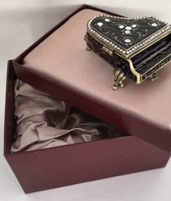 jeweled enamel piano trinket box in gift box