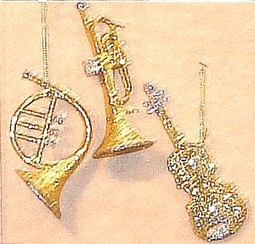 Christmas Tree Ornaments Glitter Musical Trio Gold