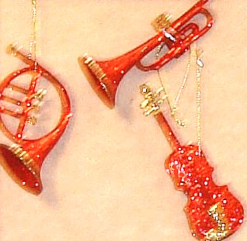 Christmas Tree Ornaments Glitter Musical Trio in Red