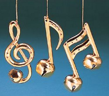 Christmas Tree Ornaments - Gold Metal Note Bell Set of 3