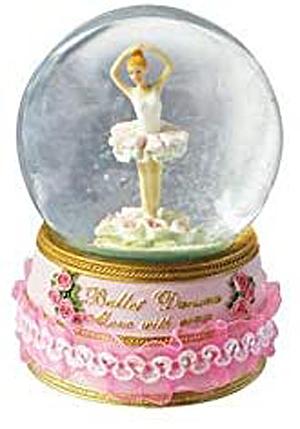 Revolving ballerina dances among roses in glitter globe