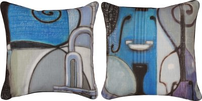 Pillows - Cool Jazz Reversible Pillow  features Bass and Trumpet