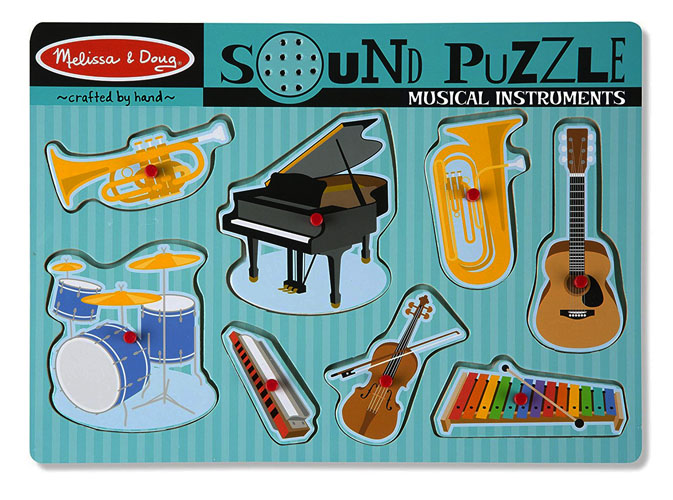 easy grip pegs on sound puzzle of instruments