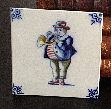 Delft Blue Tile - French Horn Player