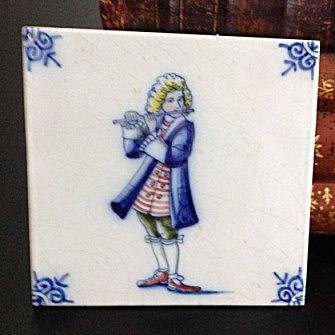 Delft Blue Tile - Flautist