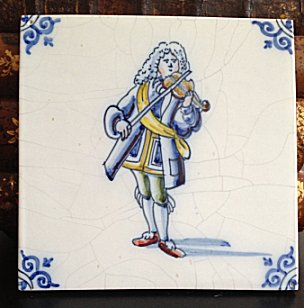 Delft Blue Violinst Art Tile